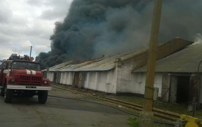 В Полтавской области произошел масштабный пожар на складе хранения зерна