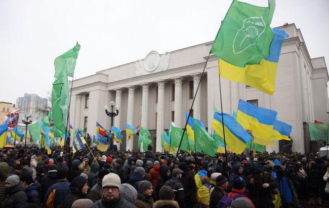 Фото: протесты под Радой (РБК-Украина)