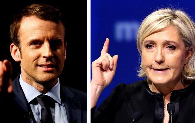 Фото: Эммануэль Макрон и Марин Ле Пен побеждают на выборах во Франции