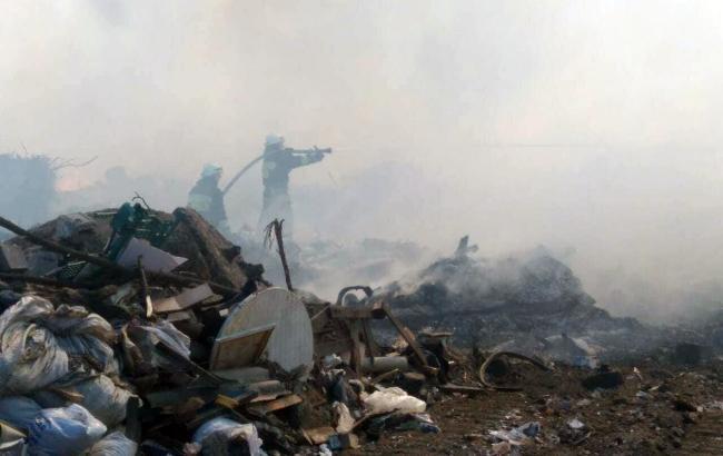 Фото: пожежа на сміттєвому полігоні у Дніпрі (dp.dsns.gov.ua)