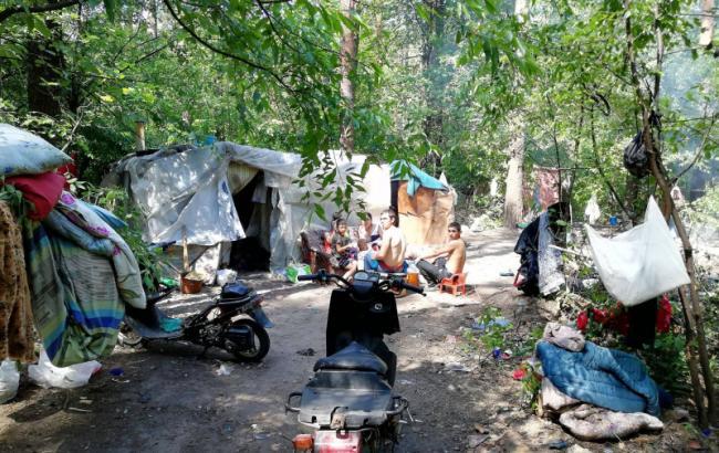 В сети показали, как ромы набросились на экологов в парке Киева (видео)