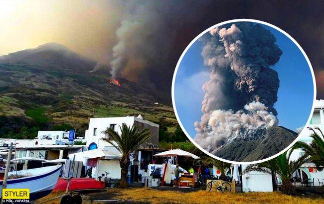 В Италии проснулся древний вулкан: видео мощного извержения