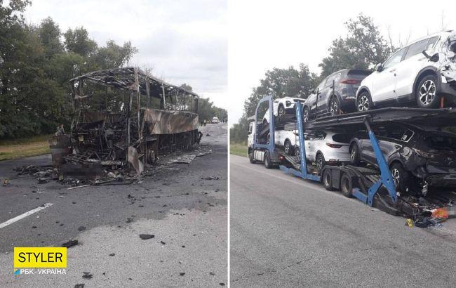 Под Житомиром международный автобус врезался в автовоз и сгорел: есть жертва, много пострадавших