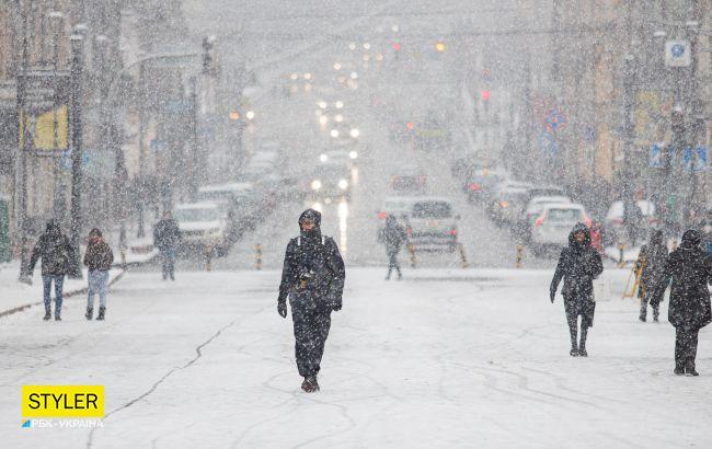 На Київ рухається снігопад: в місті попереджають про затори