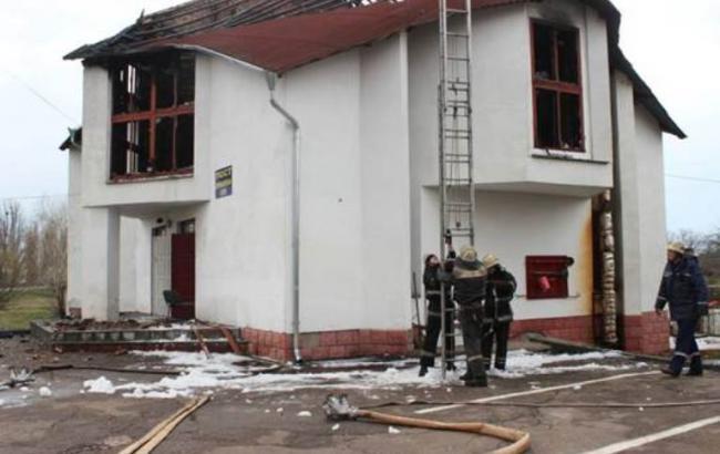 Под Киевом сгорел пост ГАИ