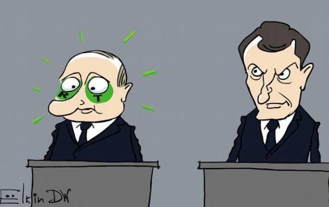 Відомий карикатурист показав, до чого президент Франції довів Путіна