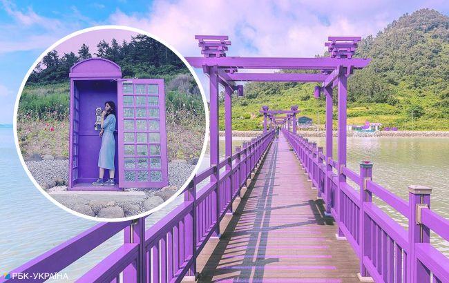 В надії залучити туристів: курортний острів повністю пофарбували у фіолетовий колір