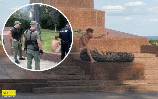 В Одесі оголений неадекват грівся на вічному вогні: лаяв перехожих і поліцію