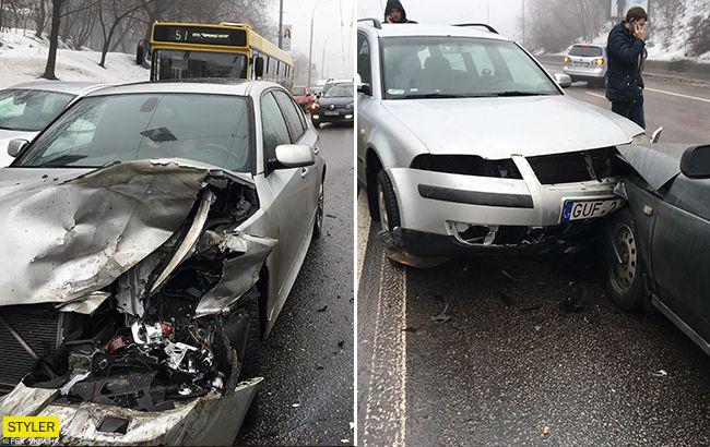 Ланцюгова реакція: у Києві зіткнулося одночасно сім машин