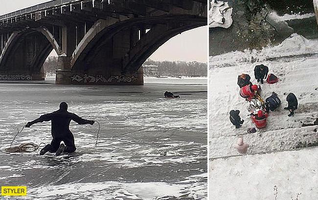 Киевлянин упал с моста в Днепр: появилось видео