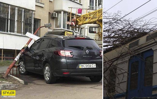 Во Львове бушует ураган: разрушены железнодорожные пути, повалены деревья