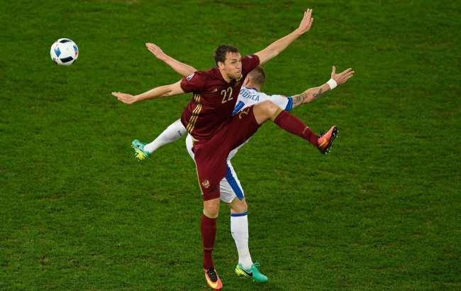 Фото: Під час гри російської збірної з футболу зі Словаччиною