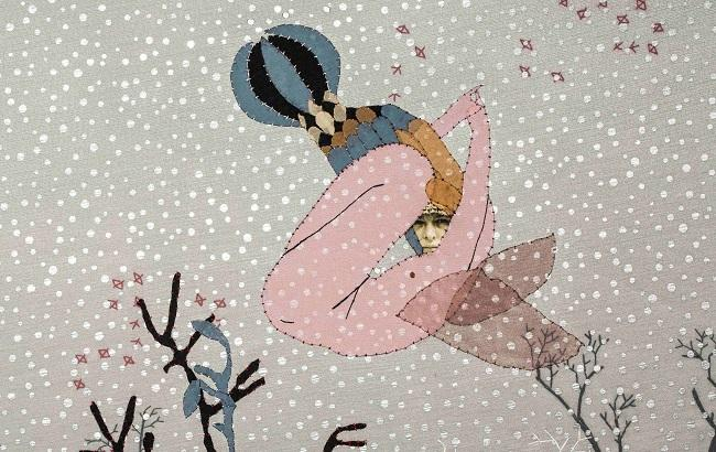 Текстильная работа Василины Буряник (фрагмент, фото: facebook.com/skyartfoundation)