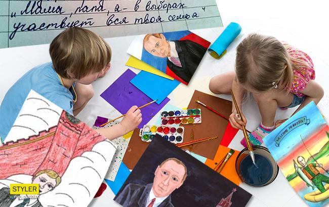 В школах Крыма детей принуждают рисовать плакаты к выборам