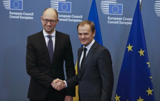 Прем'єр-міністр України Арсеній Яценюк і голова Європейської Ради Дональд Туск