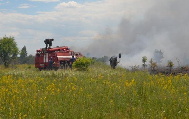 Фото: под Чернобылем продолжается тушение пожара