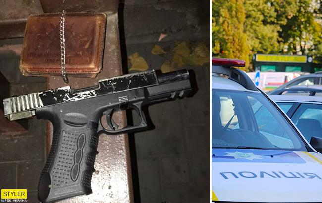 У Києві чоловік розгулював по вулицях з пістолетом і пакетом наркотиків