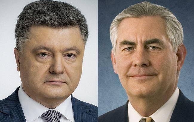Фото: Петр Порошенко и Рекс Тиллерсон (пресс-служба АПУ)