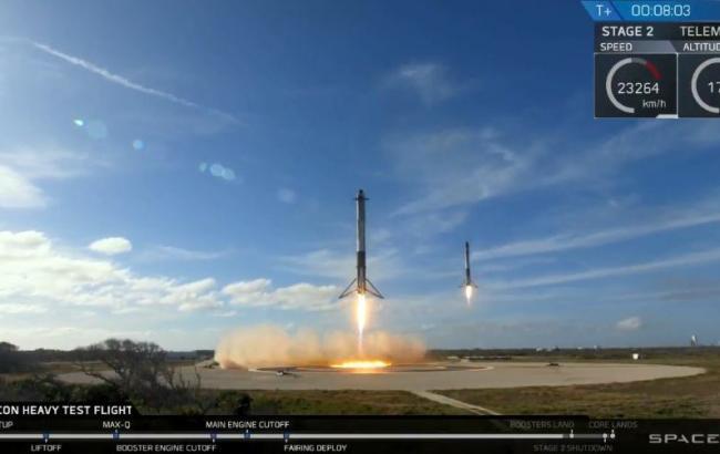 Фото: приземление двоих ускорителей от Falcon Heavy (https://twitter.com/elonmusk)