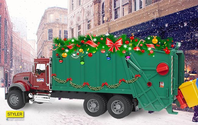 Фото: Праздничный мусоровоз (Коллаж РБК-УКраина)