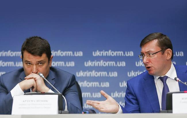 Инициатива генпрокурора Юрия Луценко (справа) не находит отклика в НАБУ (слева - директор НАБУ Артем Сытник) Фото УНИАН