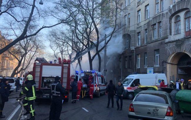 В центре Одессы перекрыли движение из-за пожара