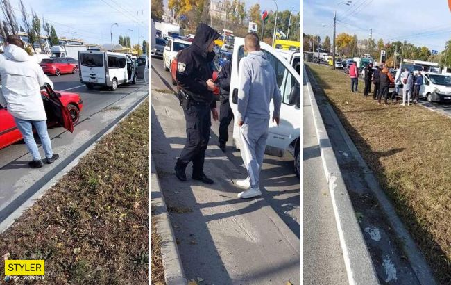В Киеве водитель микроавтобуса сбилполицейского, который оформлял ДТП (фото)