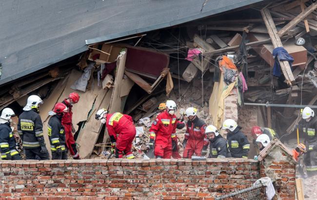 Фото: обрушение дома в Польше