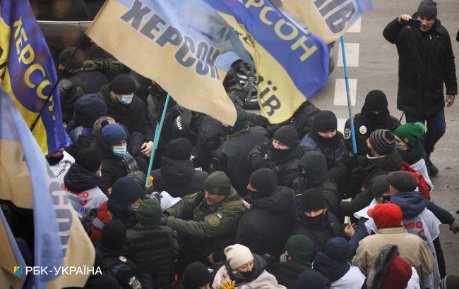 В Києві в ході протесту стались сутички під Радою