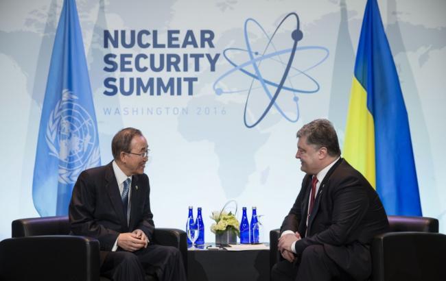 Порошенко и Пан Ги Мун обсудили возможность развертывания миссии ООН на Донбассе
