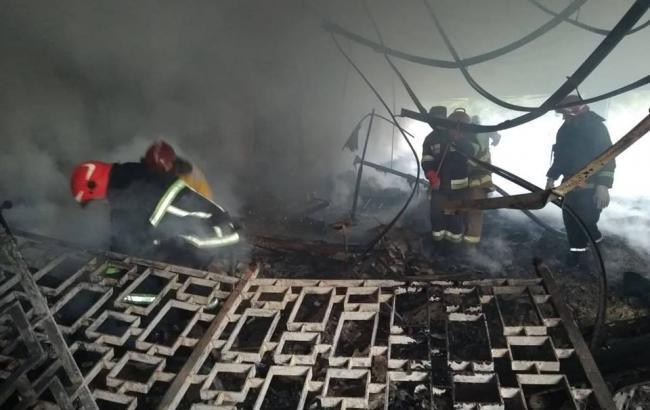 Фото: пожар на стадионе СКА (ГСЧ во Львовской области)