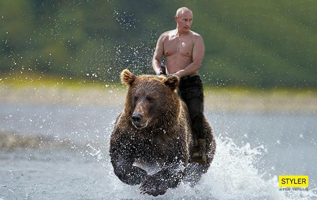"""""""Товар для пьяных """"ватников"""": В России продают полуголого Путина на медведе"""