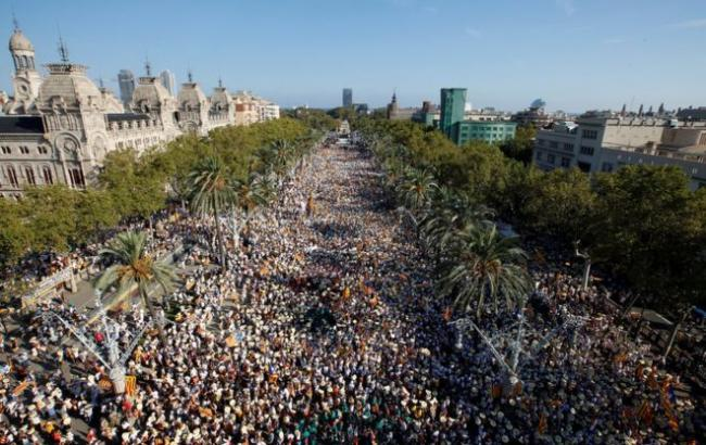 Фото: в испанской Каталонии прошли демонстрации за независимость от Испании