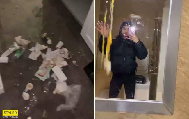 У Києві скандальна блогерка рознесна орендовану квартиру у відомому ЖК (відео)