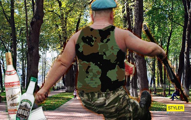 Нетрезвый военный (Коллаж РБК-Украина)