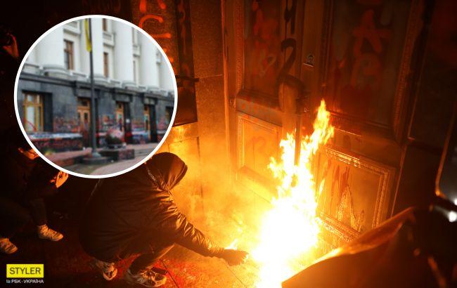 """На мітингу за Стерненко """"рознесли"""" ОП: як виглядає будівля зараз (фото)"""