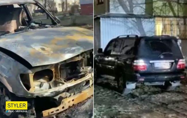 В Киеве сожгли внедорожник, паркующийся на газоне: в сети ликуют (видео)