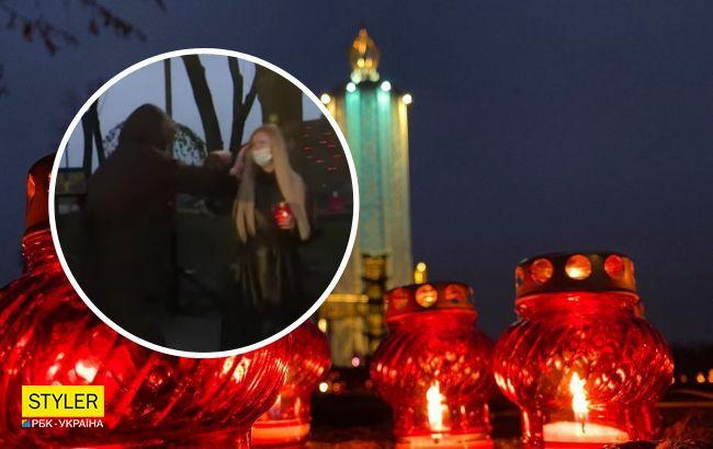 В Киеве на журналистку напали во время прямого эфира (видео)