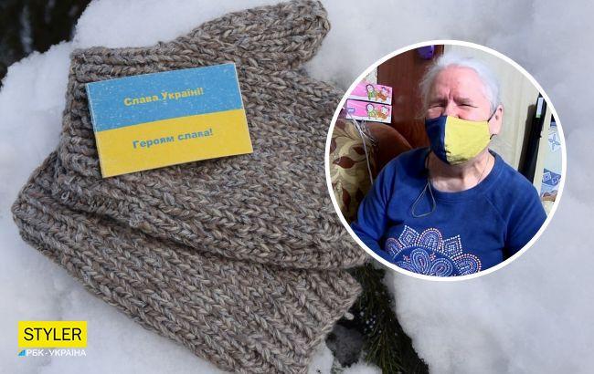 Слепая женщина растрогала украинских воинов, связав им 2100 пар перчаток  (фото)