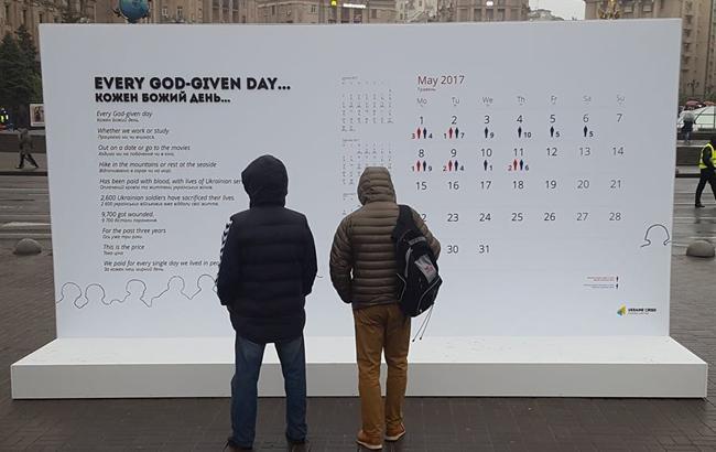 У центрі Києва встановили жахаючий календар втрат українців на Донбасі