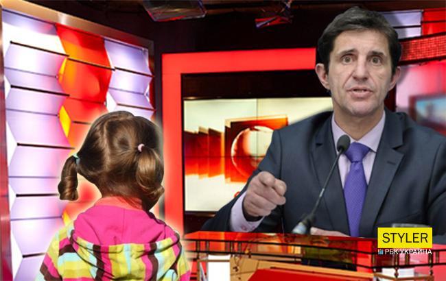 Фото: Зорян Шкиряк и девочка в прямом эфире (Коллаж РБК-Украина)
