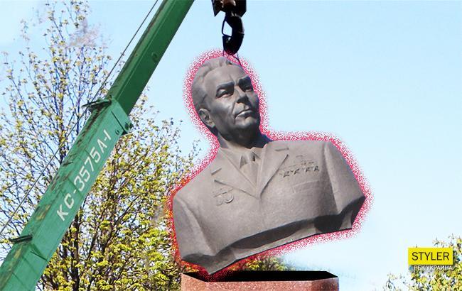Фото: Демонтаж памятника Брежневу (Коллаж РБК-Украина)