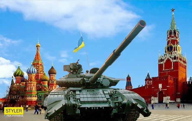 Фото: Український танк у Москві (Колаж РБК-України)
