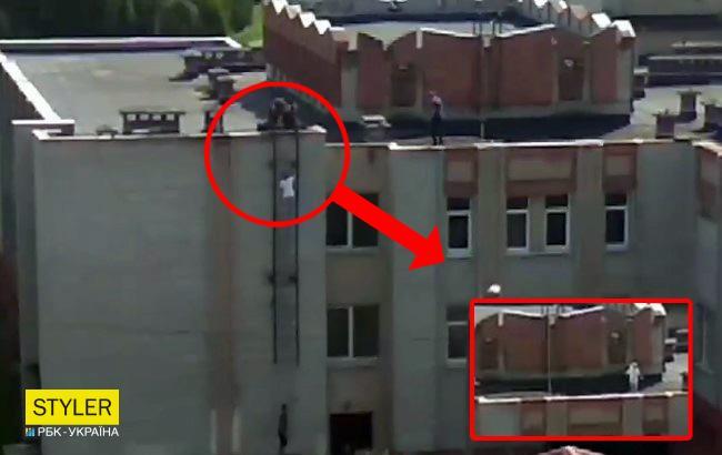Во Львове подростки устроили экстремальную пробежку по краю крыши (видео)