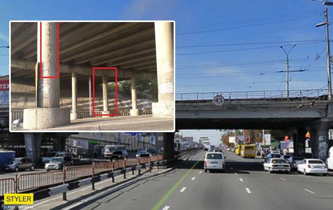 Бетон сыпется на авто: в сети показали состояние киевского моста (фото)