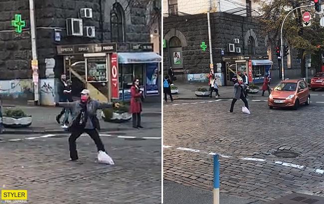 """""""Что он принял?"""": сеть насмешил новый регулировщик на дорогах Киева (видео)"""