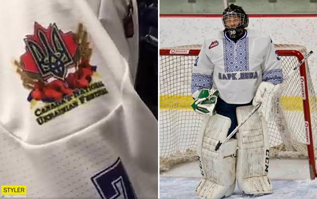 """""""Українська ніч"""": канадські хокеїсти вийшли на лід у вишиванках (відео)"""
