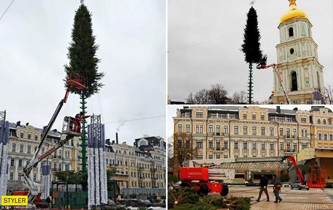 В Киевеначали устанавку главной новогодней елки Украины