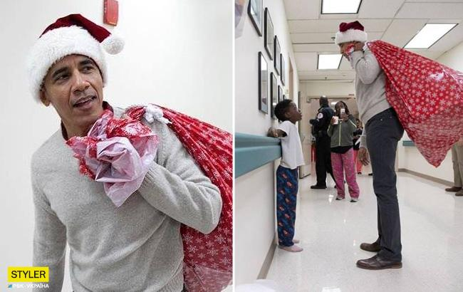 """""""ObamaCare"""": экс-президент США принес детям в больнице мешок с подарками (фото)"""