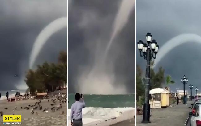 Водяний стовп до небес: з'явилося відео аномального смерчу на Кіпрі